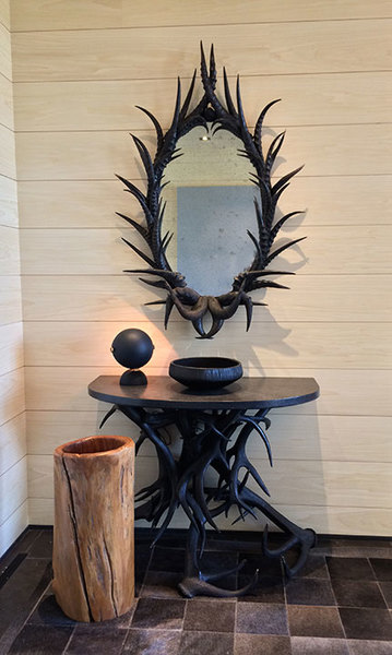 Custom antler mirror and demi-lune