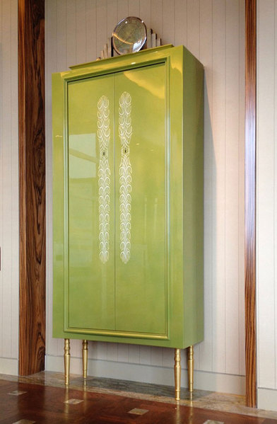Custom green lacquered cabinet