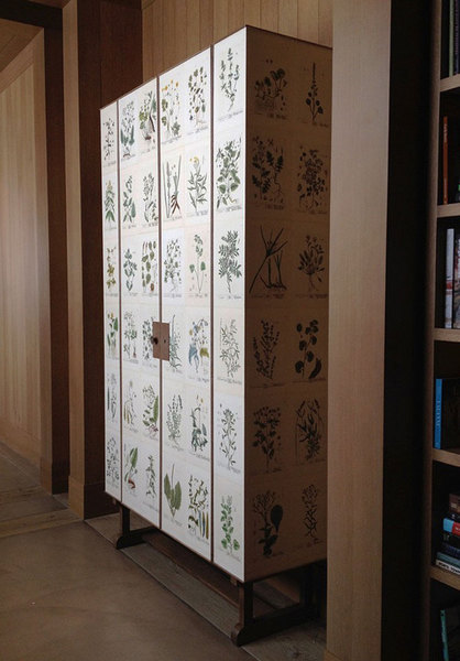 Antique botanical print cabinet after Josef Frank