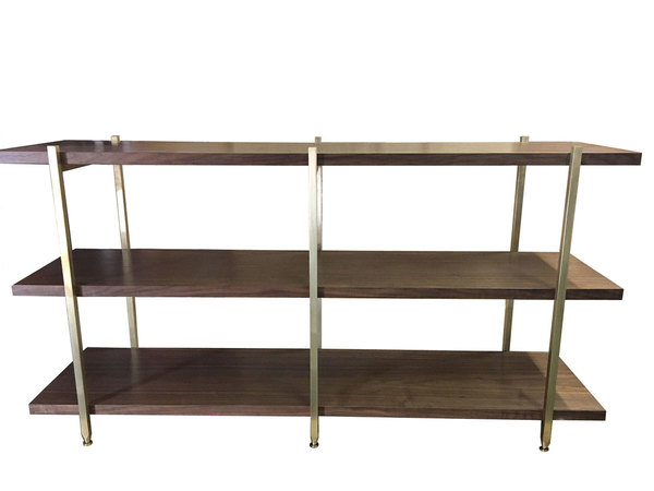 Walnut and brass bookshelf