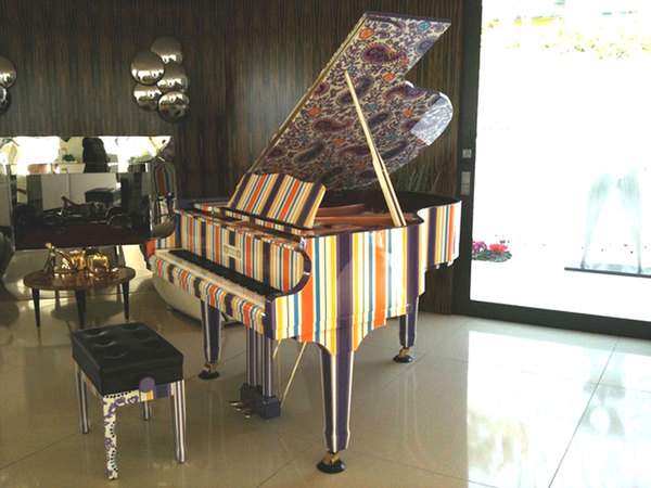 A custom painted piano