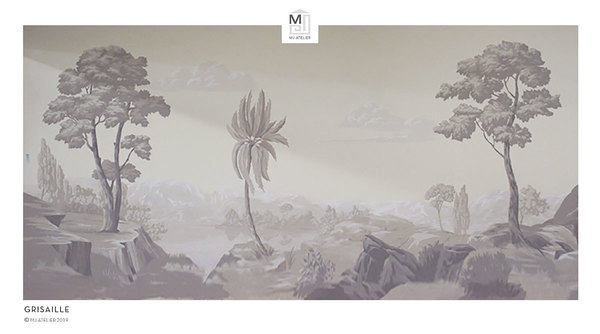 Grisaille hand painted scenic landscape